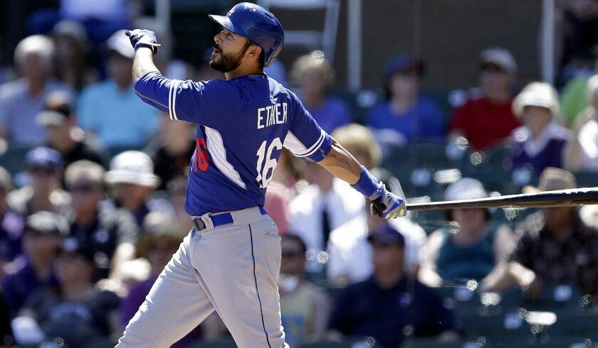 Dodgers outfielder Andre Ethier, who will probably begin the season as a reserve, watches his two-run home run against Rockies during an exhibition game March 21.