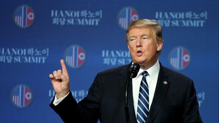 President Trump speaks to the media after meeting with North Korean leader Kim Jong Un in Hanoi, Vietnam on Feb. 28.