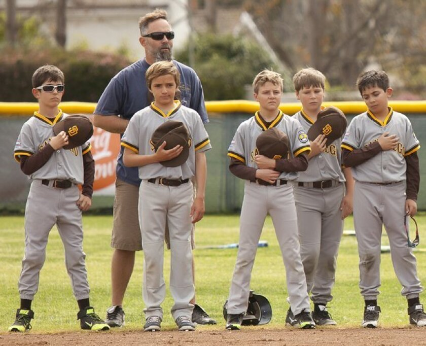 Mustang manager Dave Klimkiewicz with his Sector 9 players during the National Anthem. (La Jolla Youth Baseball, Opening Day Feb. 28, 2015, Cliffridge Park in La Jolla)