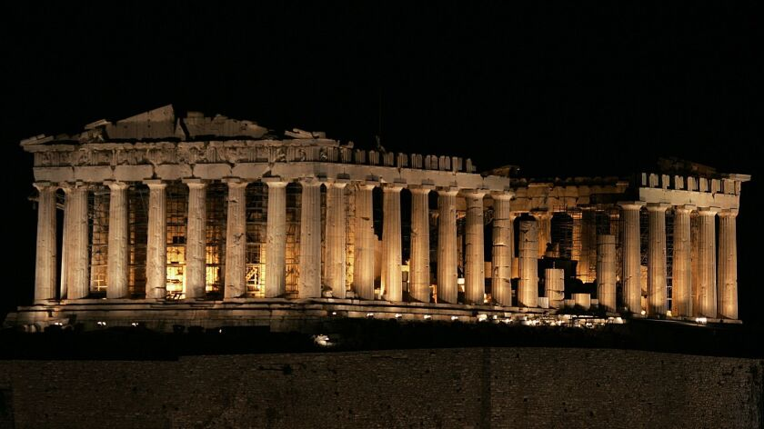 The ancient temple of Parthenon is seen
