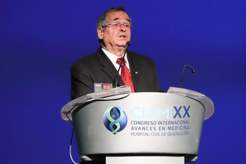 El Premio Nobel de Química 2013, Arieh Warshel, participa hoy, jueves 22 de febrero de 2018, en una conferencia magistral, en la ciudad de Guadalajara, Jalisco (México). EFE