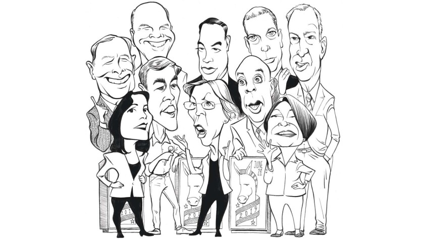 Illustration of Democratic candidates ready to debate June 26th Grouping---Front row, L to R: Tulsi
