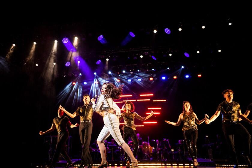 "Ariella Kvashny as Gloria Estefan in Moonlight Stage Productions' ""On Your Feet!"" at Moonlight Amphitheatre in Vista."