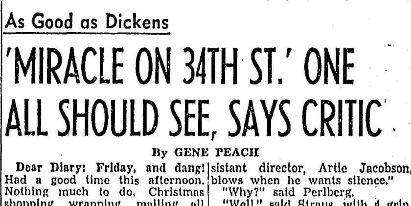 "Dec. 20, 1947 review of ""Miracle on 34th Street."""