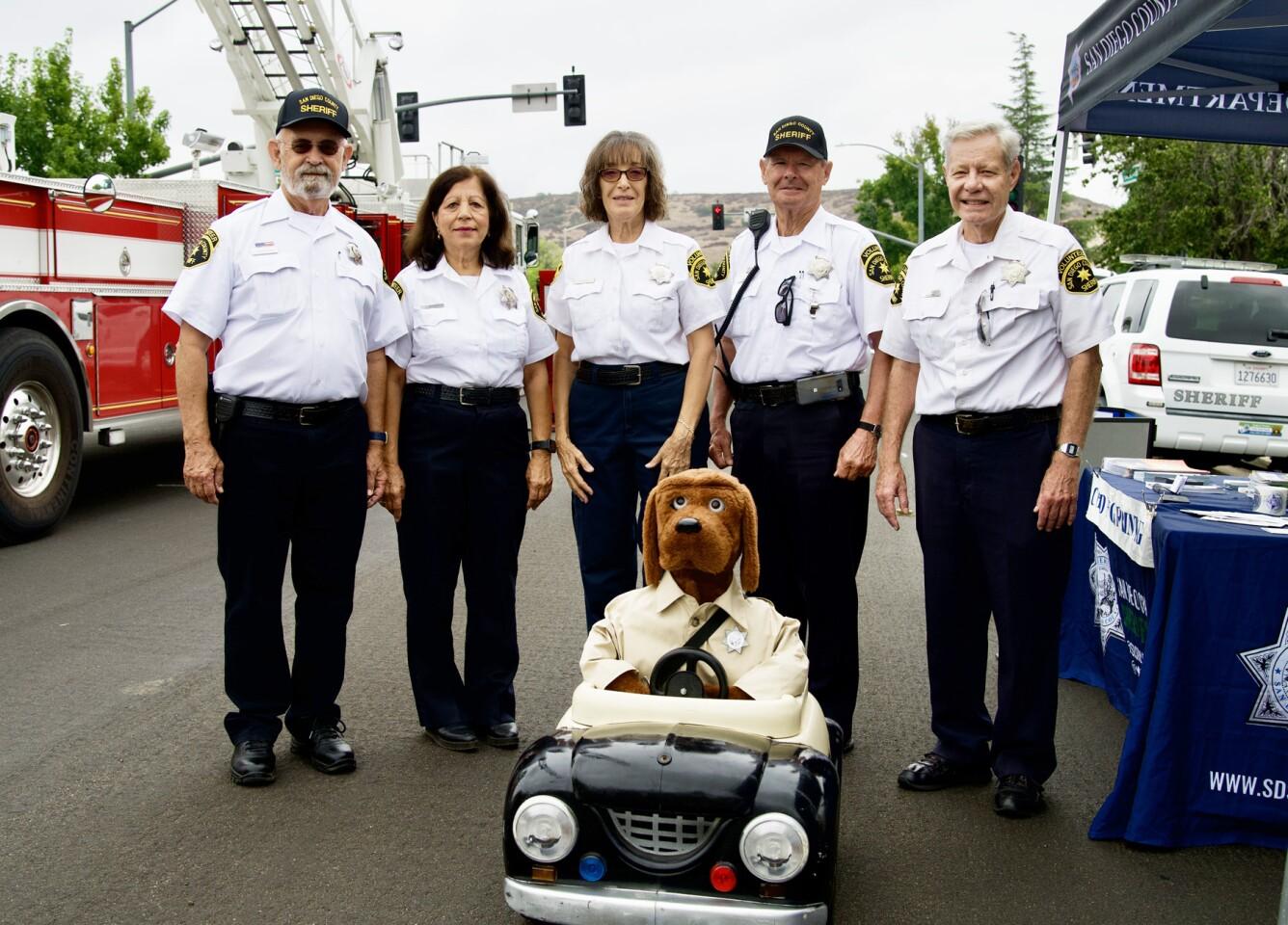 Poway Senior Volunteer Patrol members Donald Hershberger, Franchesca Walker, Paula Saltz, Dick Shope and Pete Babich.