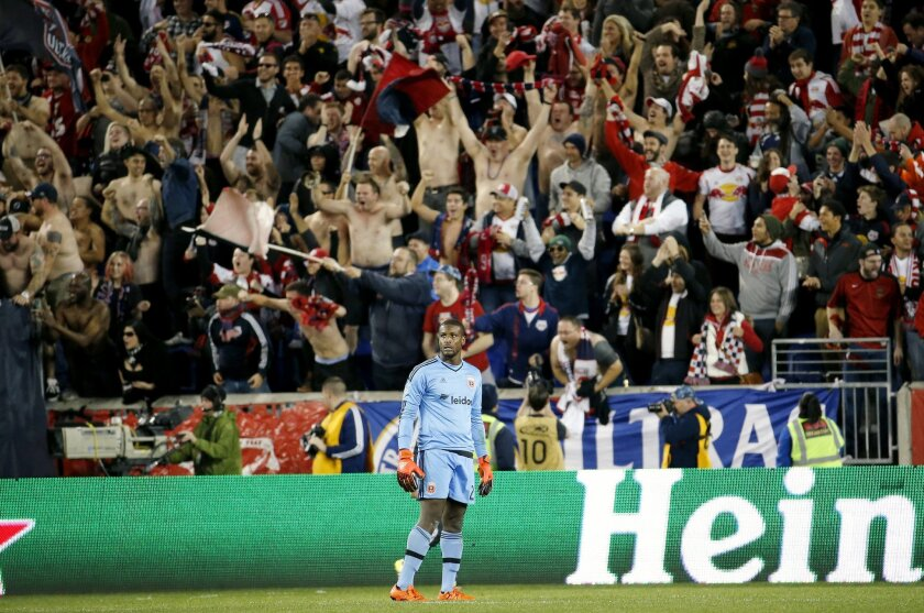 D.C. United goalkeeper Bill Hamid looks on as New York Red Bulls supporters celebrate a goal by forward Bradley Wright-Phillips during the second half of an MLS playoff soccer match, Sunday, Nov. 8, 2015, in Harrison, N.J. The Red Bulls won 1-0. (AP Photo/Julio Cortez)