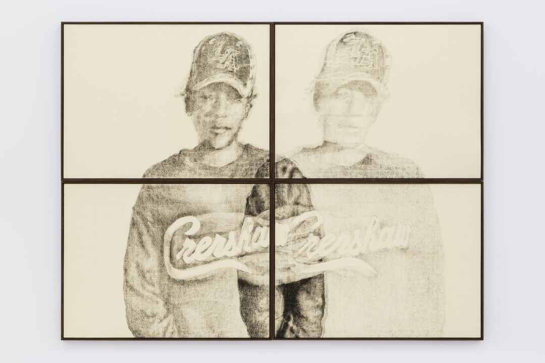"""A drawing of a young man with """"Crenshaw"""" on his sweatshirt"""