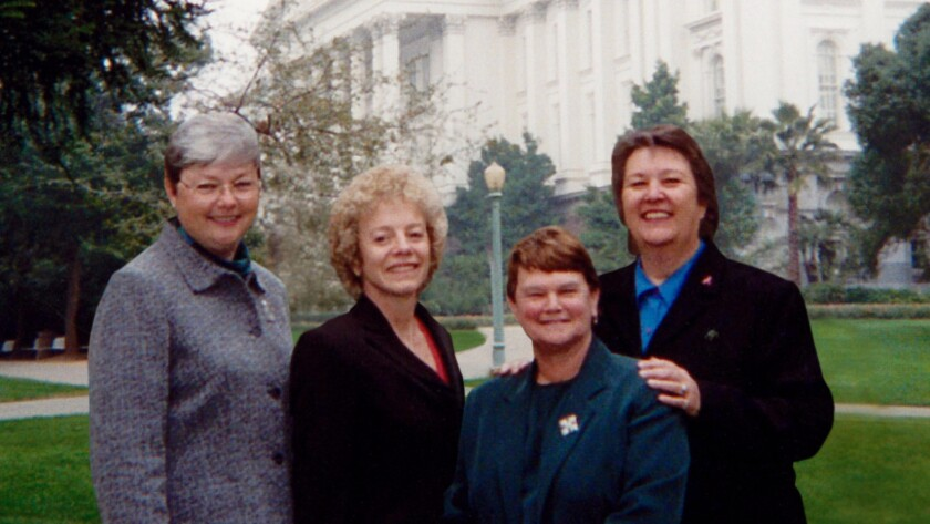 Christine Kehoe, Carole Migden, Sheila Kuehl and Jackie Goldberg were the first four openly gay people in the California Legislature.