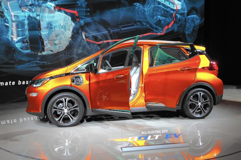 The all-electric Chevrolet Bolt EV is displayed at the 108th Annual Chicago Auto Show in February.
