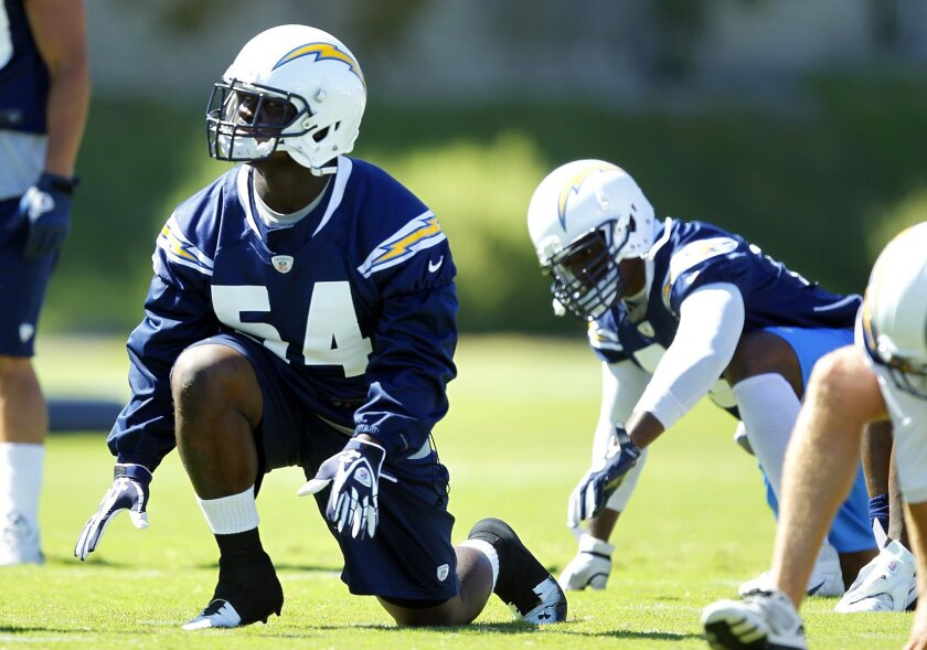 Chargers Melvin Ingram during practice on the first day of mini-camp on Tuesday, June 19, 2012.