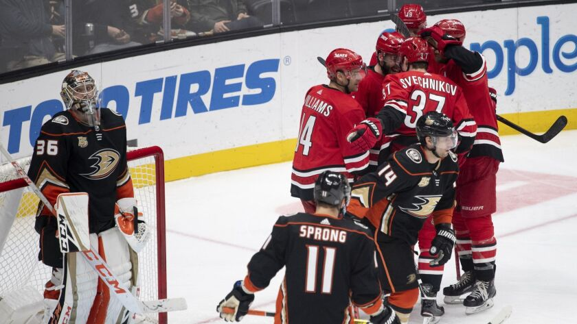 Carolina Hurricanes celebrate a goal by right wing Justin Williams during the third period the Ducks.