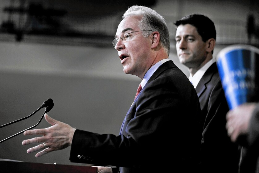 Rep. Tom Price (R-Ga), left, current chairman of the House Budget Committee, with then-House Budget Committee Chairman Paul Ryan (R-Wis.) in 2012.