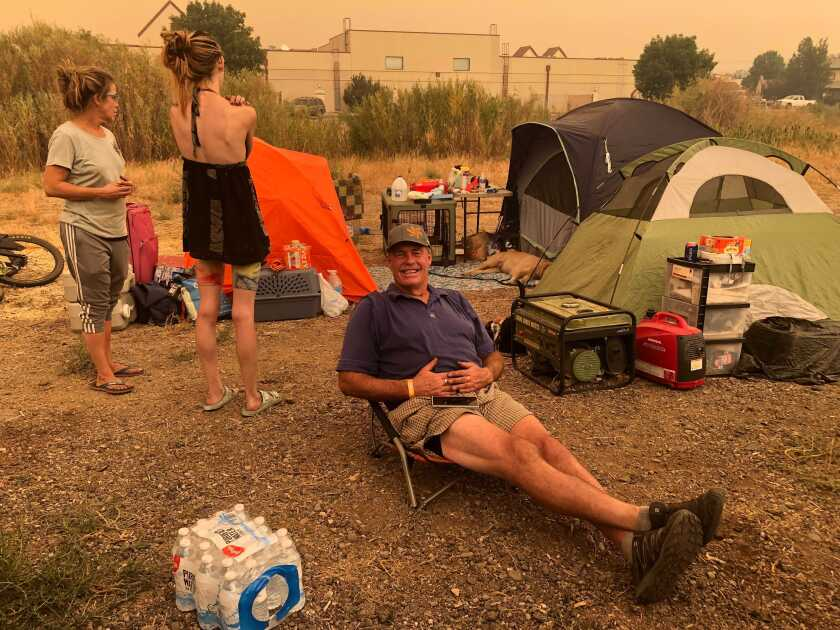 Rick Wright, 60, was at the Douglas County Community Center in Gardnerville, Nev., after evacuating from the Caldor fire.