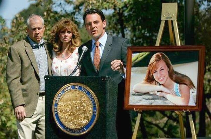 Assemblyman Nathan Fletcher and parents, Kelly and Brent King, at a press conference on March 22, 2010, announcing details of legislation being drafted in the wake of Poway teen Chelsea King's slaying. It will focus on a one-strike provision for violent sexual predators, parole reform and better GP
