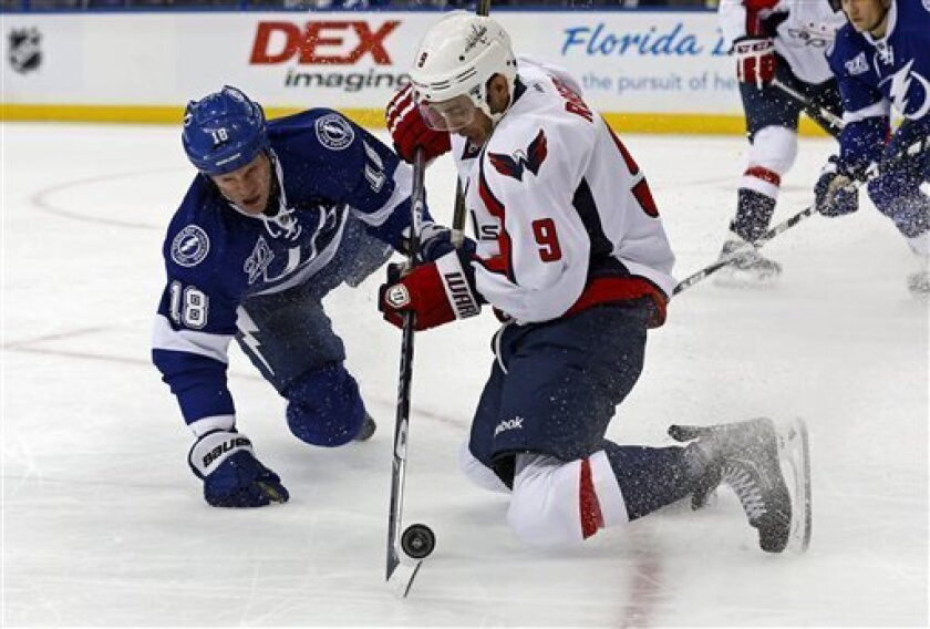 Tampa Bay Lightning's Adam Hall, left, and Washington Capitals' Mike Ribeiro battle for a puck during the first period of an NHL hockey game on Thursday, Feb. 14, 2013, in Tampa, Fla. (AP Photo/Mike Carlson)