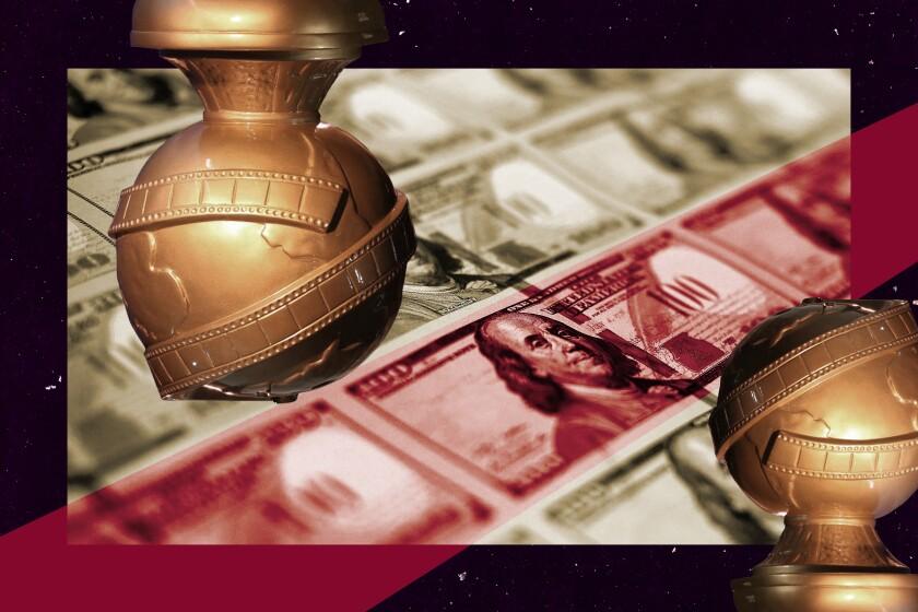 illustration of Golden Globes statues against a backdrop of money