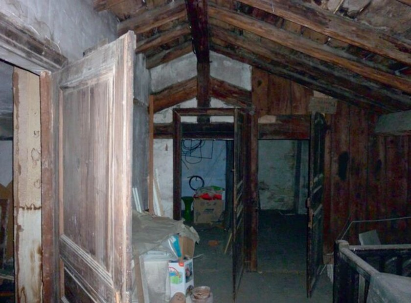"A photo provided by art aucioneer Marc Labarbe shows the attic where the Caravaggio painting: ""Judit"
