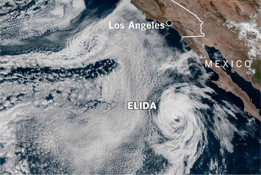 Tropical Storm Elida was about 700 miles south of San Diego in this image from Wednesday afternoon.