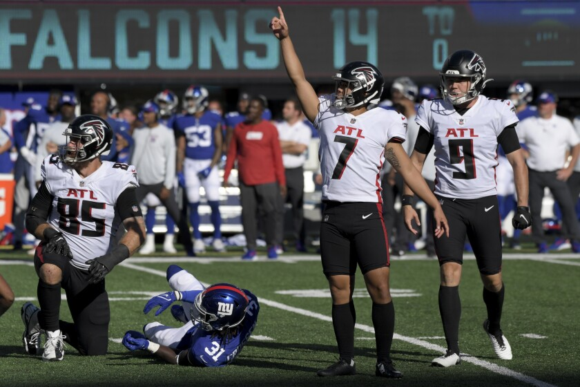 Atlanta Falcons kicker Younghoe Koo (7) reacts after kicking the game-winning field goal during the second half of an NFL football game against the New York Giants, Sunday, Sept. 26, 2021, in East Rutherford, N.J. (AP Photo/Bill Kostroun)