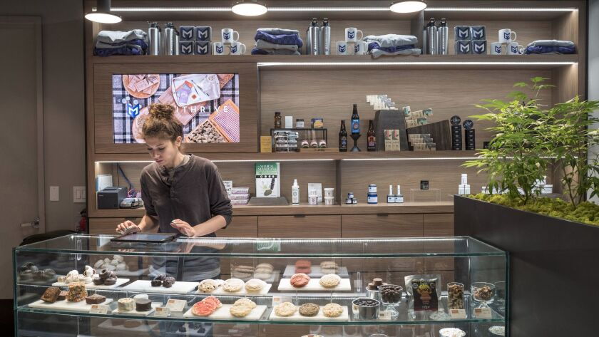 The case of marijuana-laced baked goods and candies at Medithrive in San Francisco's Mission District.