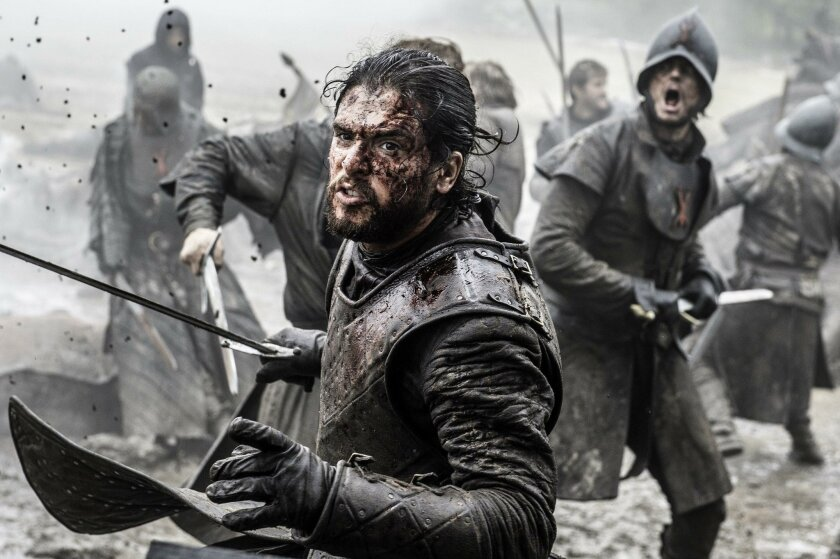 "In this image released by HBO, Kit Harington portrays Jon Snow in a scene from ""Game of Thrones."""
