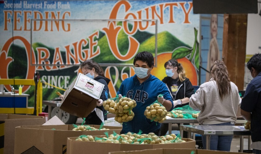 Boxes of food are packed by recently laid off restaurant workers at Second Harvest Food Bank in Irvine on April 1, 2020.
