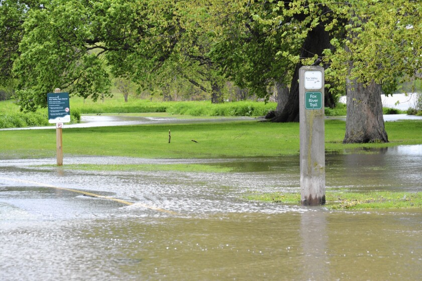 This portion of the Fox River Trail in Montgomery dealt with some flooding issues Monday.