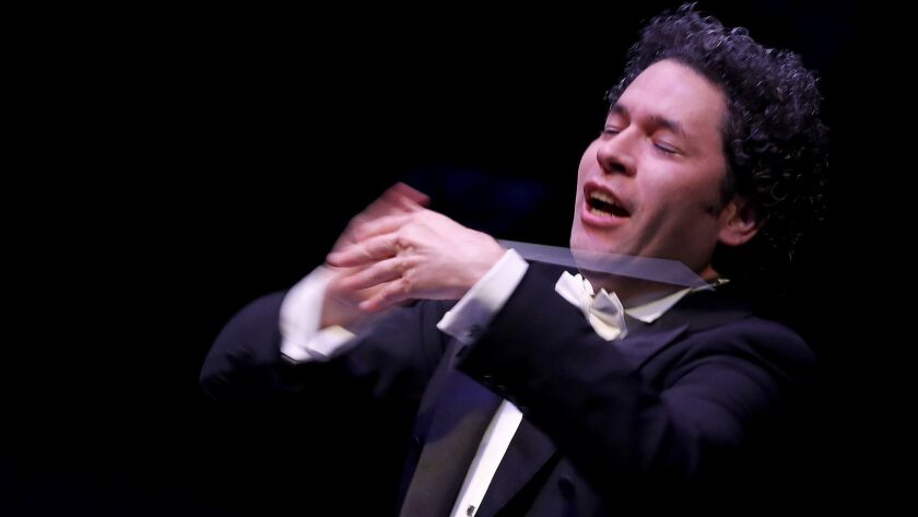 LOS ANGELES, CALIF. - SEP. 28, 2018. Gustavo Dudamel directs the L.A. Phil during the opening of t