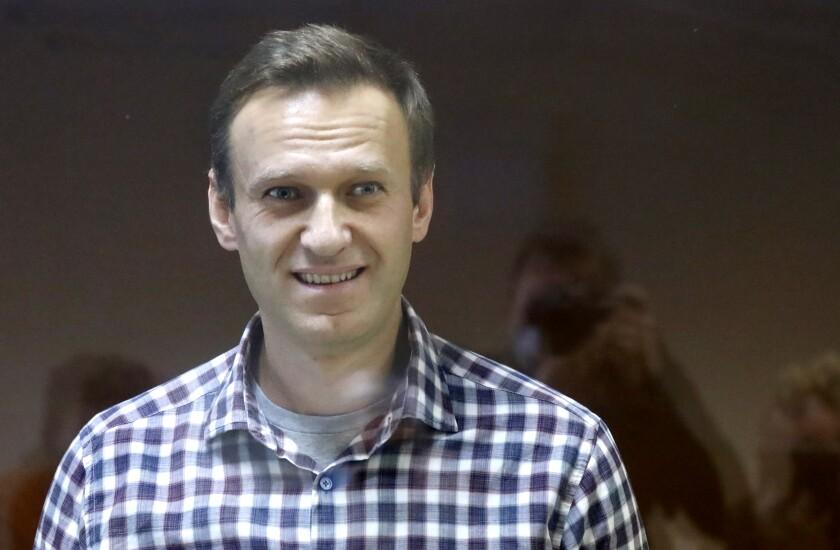 En imagen de archivo del sábado 20 de febrero de 2021, el líder opositor ruso Alexei Navalny