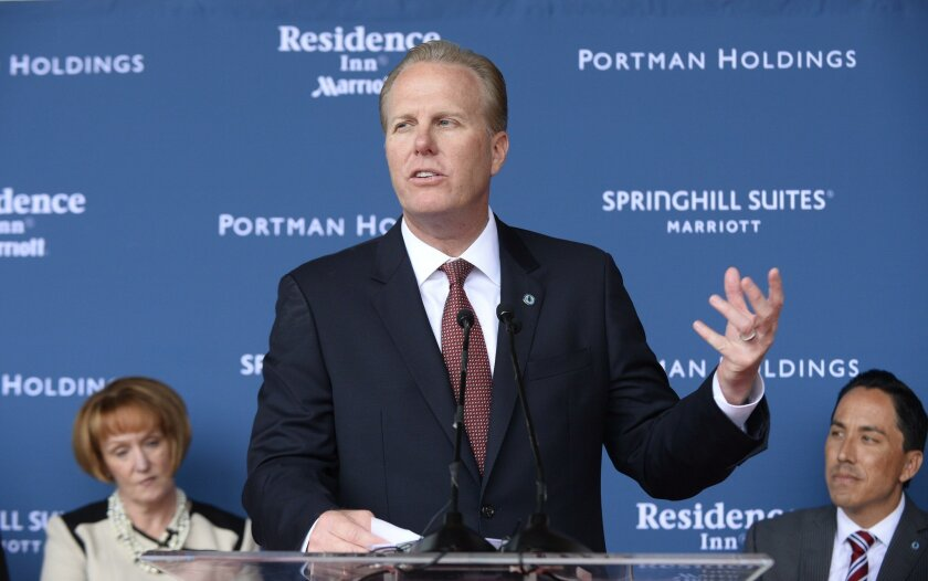 San Diego mayor Kevin Faulconer speaks at the grand opening celebration for the SpringHill Suites Residence Inn Downtown Bayfront last month.