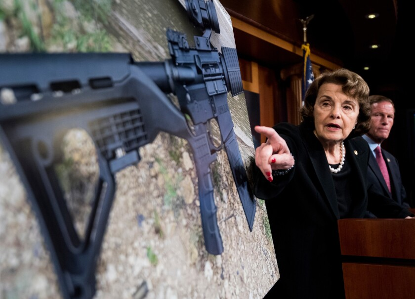 """Sen. Dianne Feinstein (D-Calif.) introduces legislation to ban the sale and possession of """"bump stock"""" equipment for firearms."""
