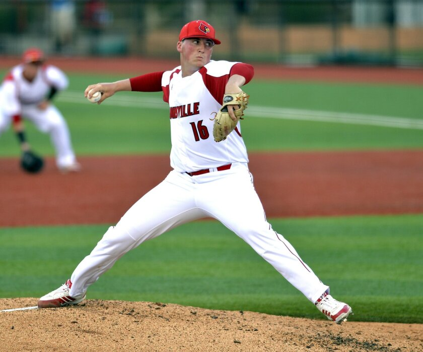 Louisville's Kyle Funkhouser pitches to Morehead State during the second inning in the Louisville Regional of the NCAA college baseball tournament, Friday, May 29, 2015, in Louisville Ky. (AP Photo/Timothy D. Easley)