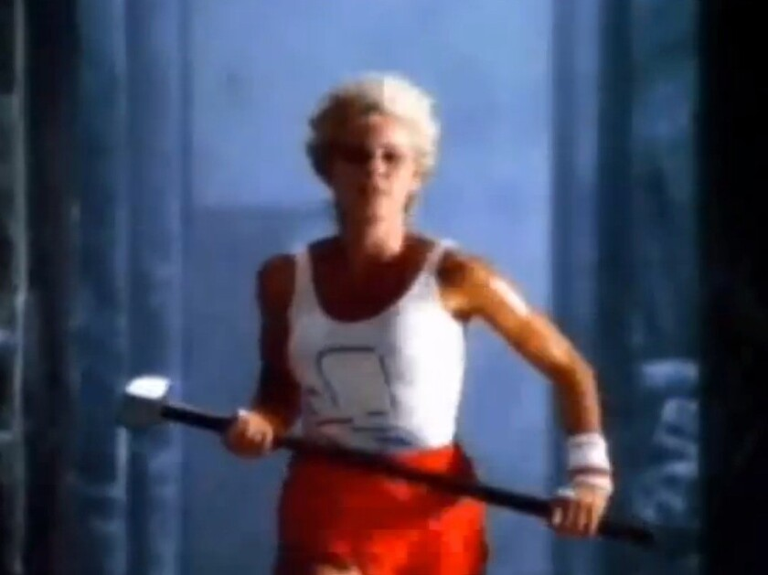 "Actress and discus thrower Anya Major sprints her way into advertising history in Apple's ""1984"" ad."