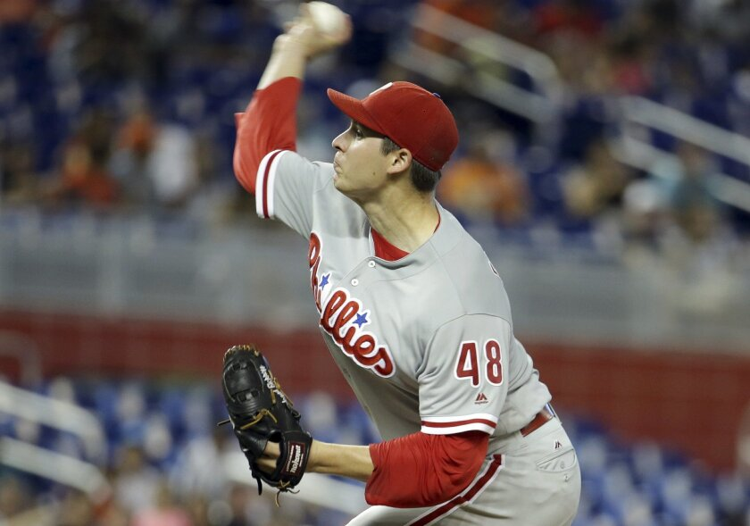 Philadelphia Phillies starting pitcher Jerad Eickhoff (48) throws during the first inning of a baseball game against the Miami Marlins, Monday, Sept. 5, 2016, in Miami. (AP Photo/Lynne Sladky)