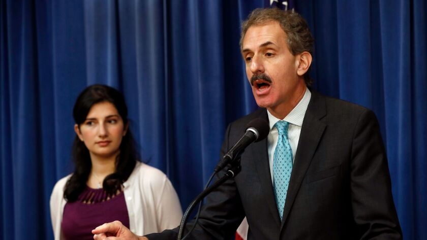 LOS ANGELES, CA-DECEMBER 4, 2017: Los Angeles City Attorney Mike Feuer addresses members of the med