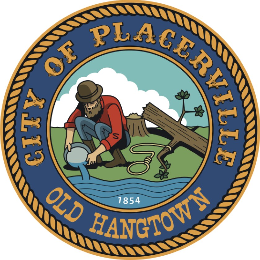 An altered version of Placerville's city logo shows the logo with the lynching tree chopped down.