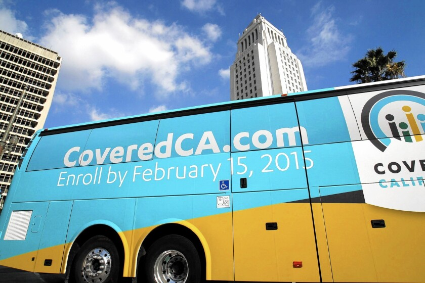 A Covered California bus publicizes the Feb. 15 deadline for open enrollment. The state hopes to have 1.7 million signed up before the deadline.