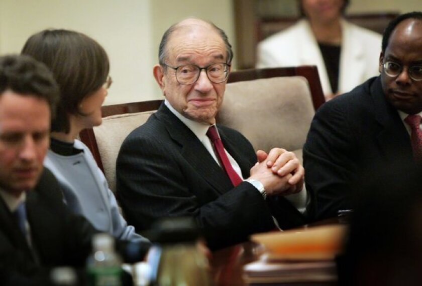 Alan Greenspan has something in common with a controversial French novelist.