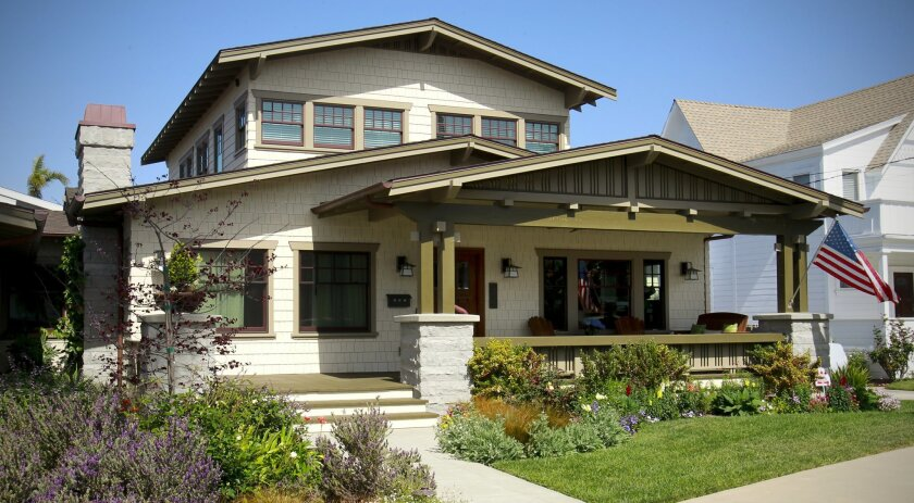"""""""The exterior of the Craftsman bungalow owned by Debbie and Paul Vadnais."""""""