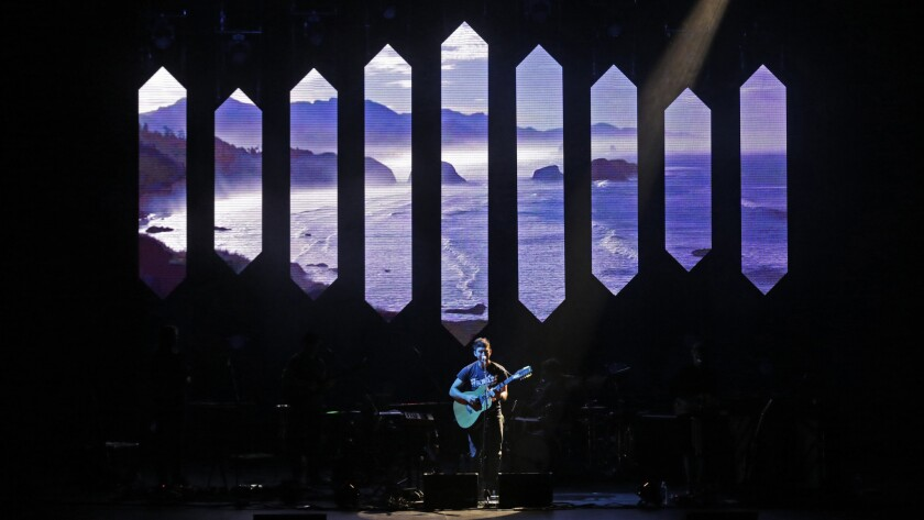 Sufjan Stevens performs during the first of two nights at Dorothy Chandler Pavilion in downtown Los Angeles.