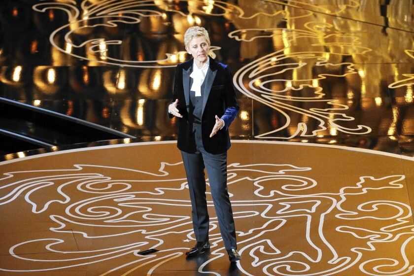 Ellen DeGeneres does her opening monolog during the telecast of the 86th Academy Awards.
