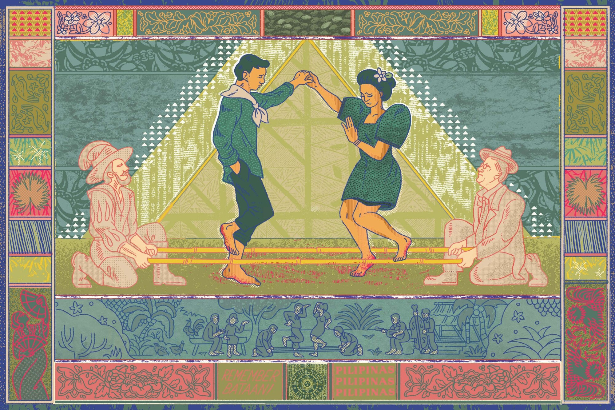 Illustration shows native Filipinos doing a traditional tinikling dance flanked by American and Spanish colonizers