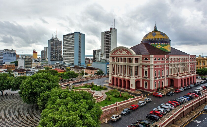 The Amazon Theatre in Manaus, Brazil. The opera house was built in 1896 in Italian Renaissance style out of materials imported from Europe during the Brazilian region's rubber boom.