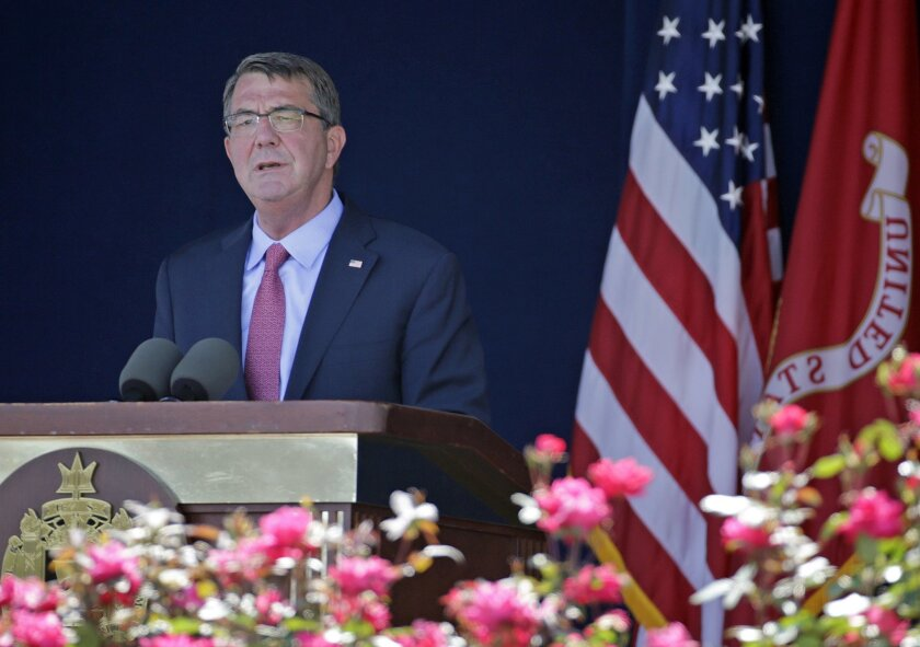U.S. Defense Secretary Ash Carter delivers remarks during the U.S. Naval Academy's graduation and commissioning ceremony in Annapolis, Md., Friday, May 27, 2016. (AP Photo/Patrick Semansky)