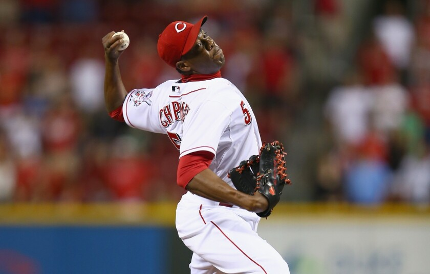 Cincinnati Reds closer Aroldis Chapman is one of 21 Cuban players who have played in Major League Baseball this season.