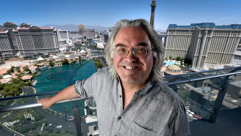 Director Paul Greengrass looks over the Las Vegas Strip from the 38th floor of the Cosmopolitan of Las Vegas on July 18.