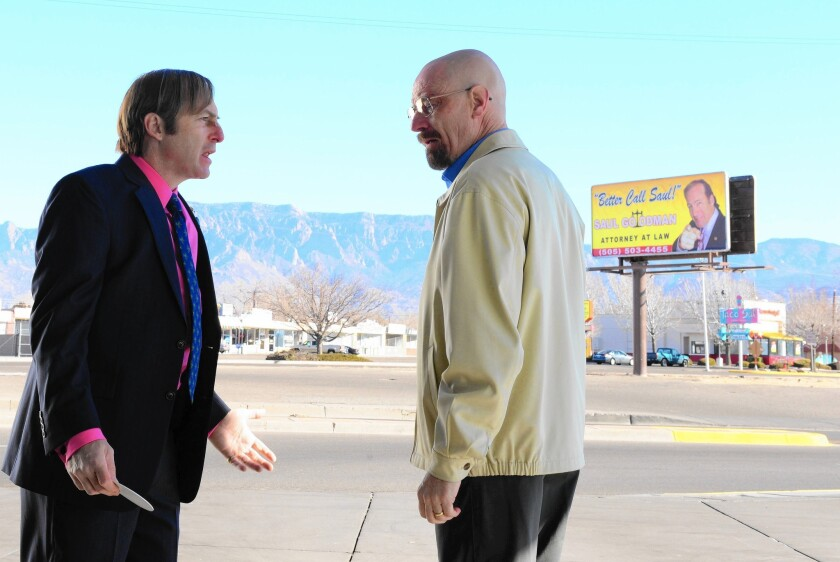 """Saul Goodman (Bob Odenkirk) and Walter White (Bryan Cranston) appear in """"Breaking Bad,"""" one of the American TV shows that have found huge fan bases in China, thanks to deals with online video portals that license the programs."""