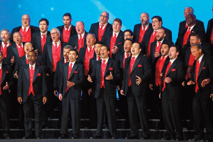 Masters of Harmony and Pacific Coast Harmony perform Dec. 14, 2019 in Cardiff-by-the-Sea.
