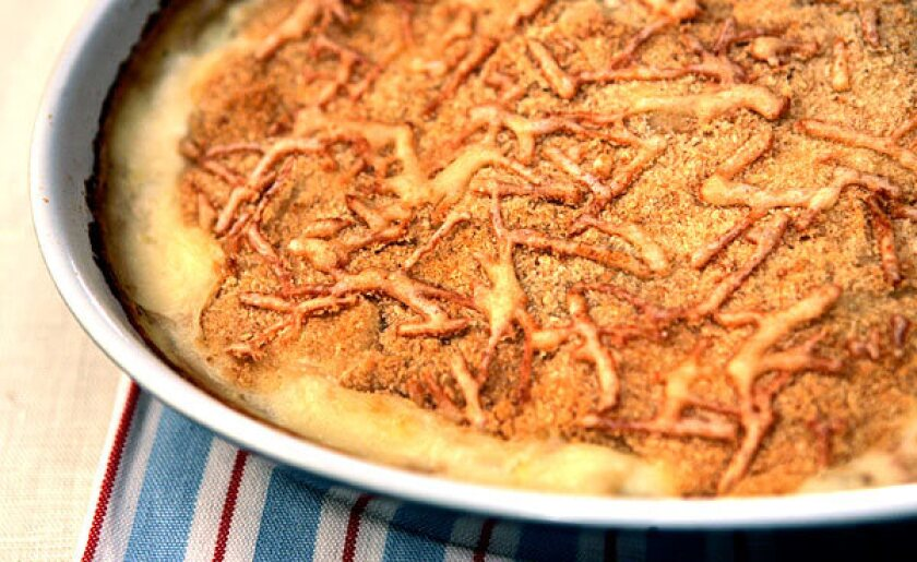 Cauliflower and potato gratin is simple and satisfying -- as a side dish at the Christmas feast or as a light main the rest of the year.