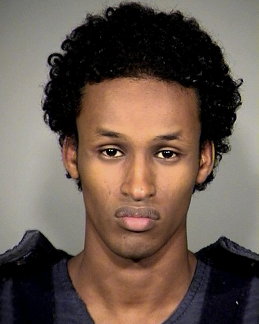 FILE -This Nov. 27, 2010, file photo provided by the Multnomah County Sheriff's Office shows Mohamed Mohamud. Convicted of trying to detonate a bomb at a tree-lighting ceremony in Portland, Ore., Nov. 26, 2010, Mohamud is seeking a new trial. An Appeals Court will hear oral arguments in Portland, O